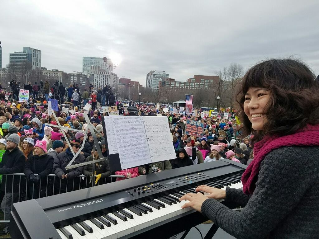 Soohee Moon accompanies Voices Rising at the Boston Women's March for America
